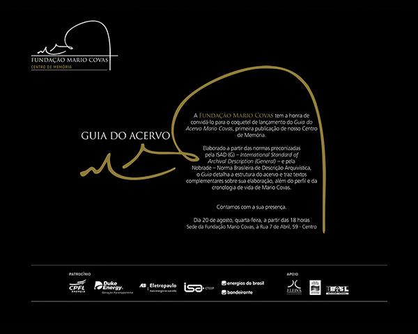 Convite do coquetel de lançamento do Guia do Acervo Mario Covas