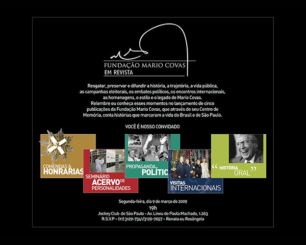 Convite do lancamento da coleção Mario Covas Em Revista