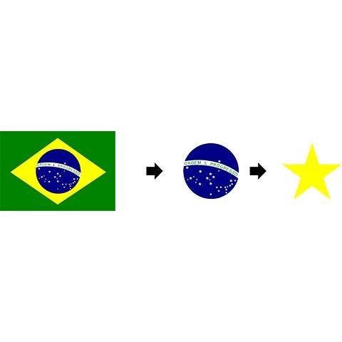 Desconstrução gráfica e visual das formas da bandeira do Brasil