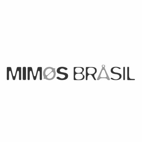 Nome da companhia Mimos Brasil composta pela fonte Blur e a interferência dos ícones da marca