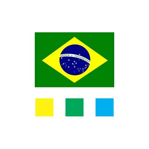 As cores da bandeira do Brasil a serem aplicadas na logomarca Mimos Brasil