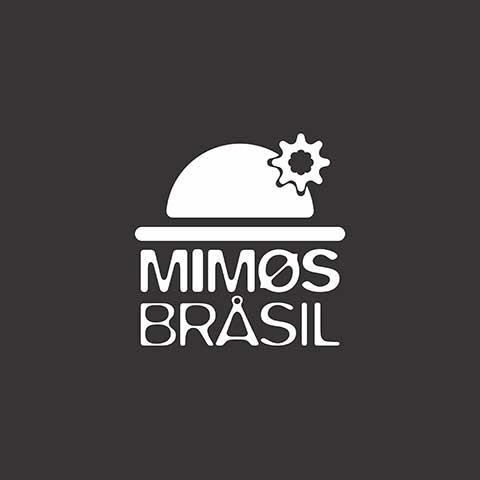 Logomarca Mimos Brasil em diapositivo - branco sobre preto