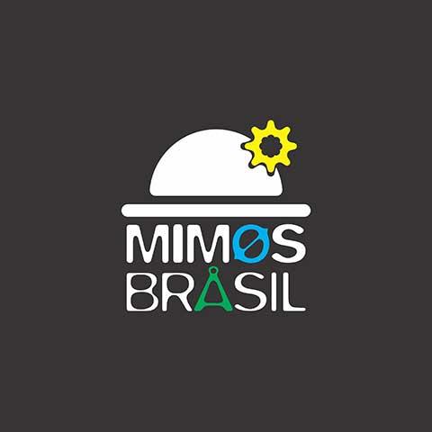 Logomarca Mimos Brasil em cores sobre fundo preto