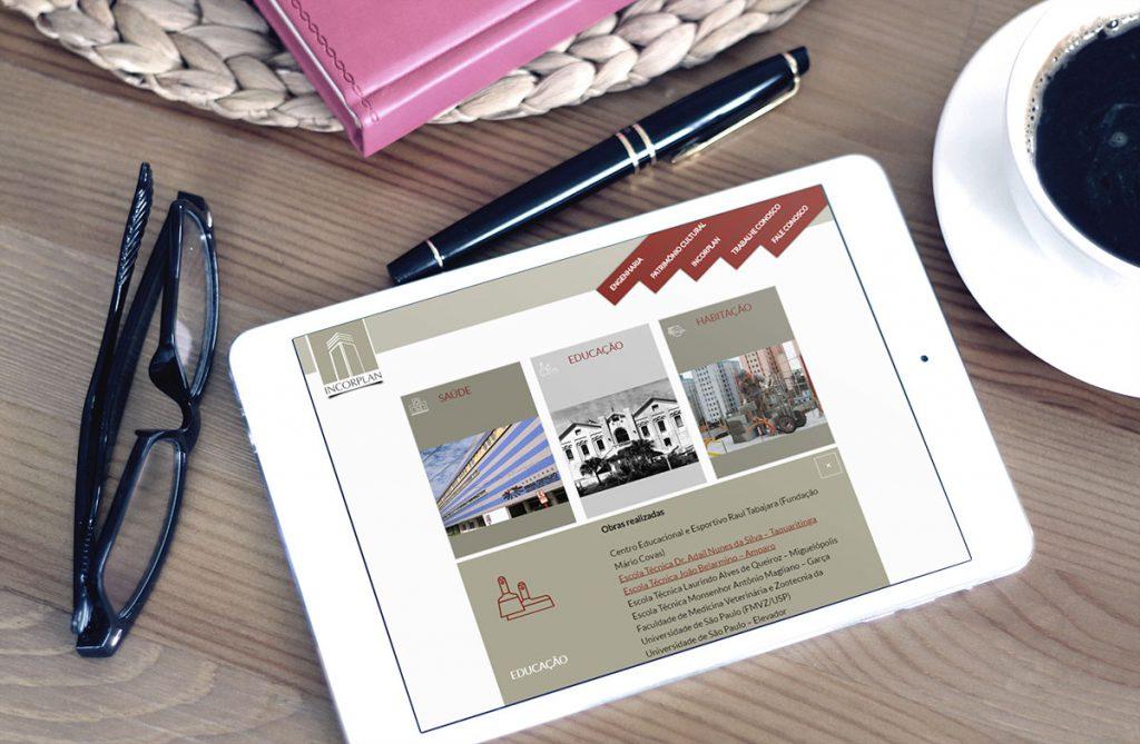 Página interna em iPad
